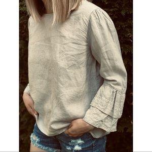 ROOTS linen embroidered bell sleeve blouse